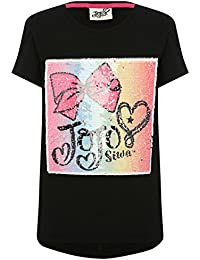 M&Co JoJo Siwa Character Girls 100% Cotton Black Short Sleeve Two Way Sequin Bow Design Dipped Back Top