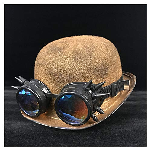 Meipa-Zeit Retro Pilot Hut Steampunk Melone Cosplay Gläser Topper Billycock Bräutigam Hüte Headwear Dome Topper Fedora Hut (Farbe : Gold BLB, Größe : 57-58 cm) (Hut Steampunk Pilot)