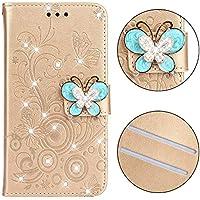 Yobby Brieftasche Hülle für Xiaomi Redmi 6 Pro, 3D Bling Kristall Strass Blume Schmetterling Handyhülle Slim PU... preisvergleich bei billige-tabletten.eu