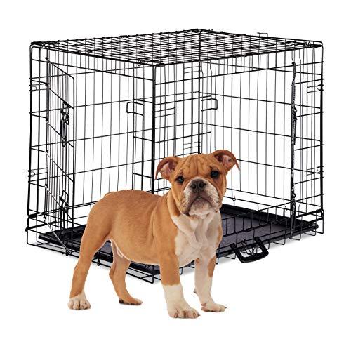 Relaxdays Hundekäfig, Faltbare Hundetransportbox Auto, Welpenkäfig, 2 Türen, Bodenschale, Drahtkäfig Metall, L, Schwarz