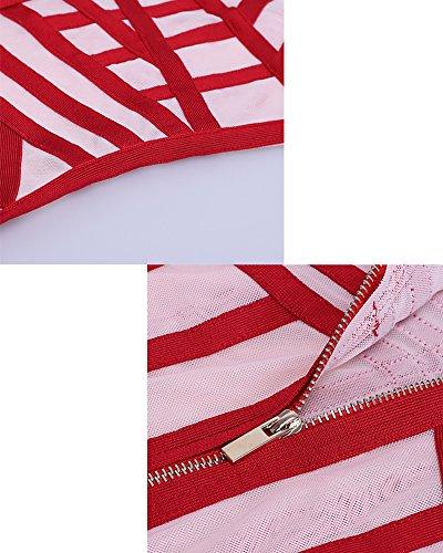 Whoinshop Damen Ärmellos Beige Mesh und Bandage V-Ausschnitt Rückenfreies Club Party MiniKleid Rot