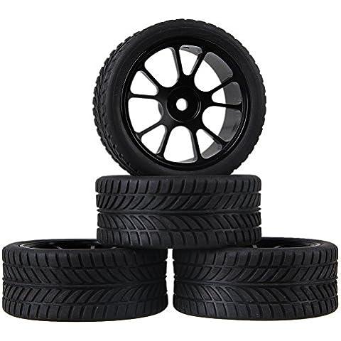 Youzone Negro Individual Orientado Neumático de caucho y negro de aleación de aluminio de 10 radios Ruedas llantas para RC 1:10 carretera coche de carreras (paquete de 4)