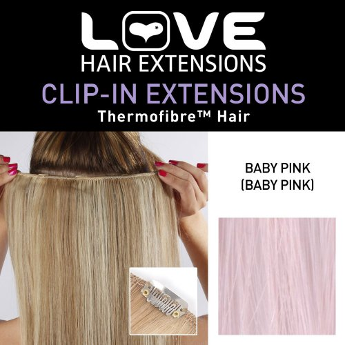 Love Hair Extensions Thermofibre Clip in Extensions Silky Straight Colour PINK 18 (Hair Extensions Pink)