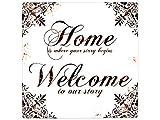 20x20 cm Retro BLECHSCHILD HOME IS WHERE YOUR STORY BEGINS Einzugsgeschenk