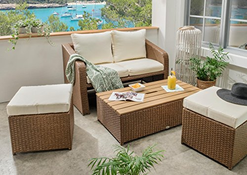 Destiny Lounge Jersey Gartenmöbelset Loungeset 4teilig Sitzgruppe Polyrattan