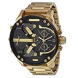 HWCOO Herrn Kleideruhr Armbanduhr Armband-Uhr Sportuhr Militäruhr Quartz Kalender Punk Duale Zeitzonen Legierung Band Luxus Retro Freizeit Cool (Golden)
