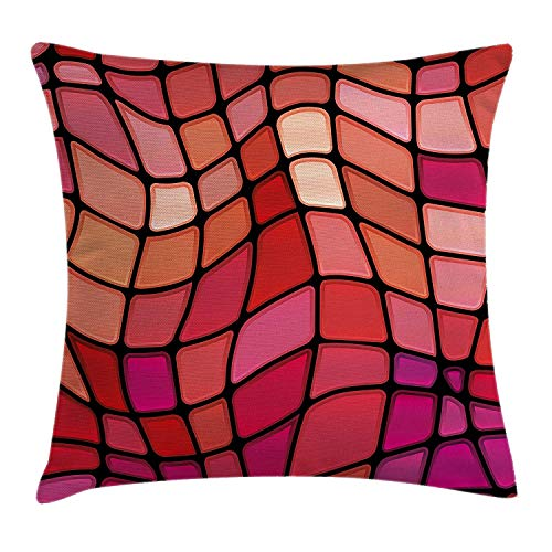 tgyew Abstract Throw Pillow Cushion Cover, Fractal Wavy Mosaic Backdrop Vitray Style Fragment Square Geometric Print, Decorative Square Accent Pillow Case, 18 X 18 inches, Magenta Red Scarlet