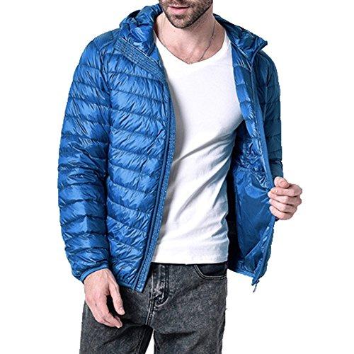 Highdas New Down Jacket Men Manteau Hiver 90 Canard Doudounes Hommes Capuche Ext¨¦rieur Hiver Parka Bleu royal