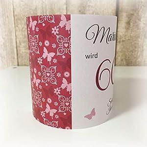 4er Set Tischlicht Tischlichter Schmetterlinge runder Geburtstag 40 50 60 70 80 90 Tischdeko personalisierbar rot…