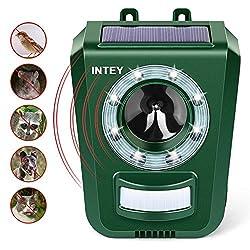 INTEY katzenschreck Ultraschall Tiervertreiber Solar Tierabwehr für Katzen, Hunde, Wildtiere bis zu 113 m² Fläche