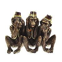 THREE WISE MONKEYS Cheeky Monkey Figurine Chimpanzees - See, Hear, Speak No Evil Statue