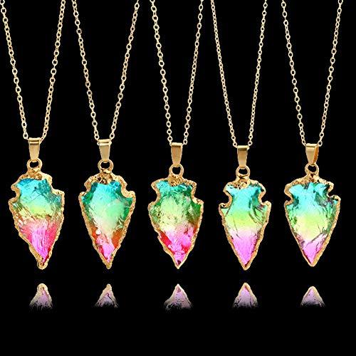 YANOAID 1 Stücke Handgemachte Grüne Kristall Naturstein Anhänger Halskette Gold Farbe Unregelmäßig Geformte Lange Für Frauen