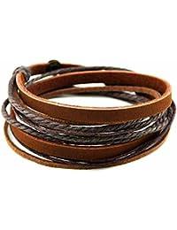 TerreZen Bracelet multi-rangs - Cuir et coton tressé - Bijou textile cuir  et coton - Marron - Sol - Cadeau Femme pas… 3e0b74a73ce7