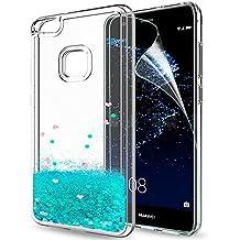 Funda Huawei P10 Lite Purpurina Carcasa con HD Protectores de Pantalla, LeYi Brillante Liquida Cristal Transparente TPU Ultrafina Silicona Case Fundas Carcasas Para Movil Huawei P10 Lite 2017 ZX Azure