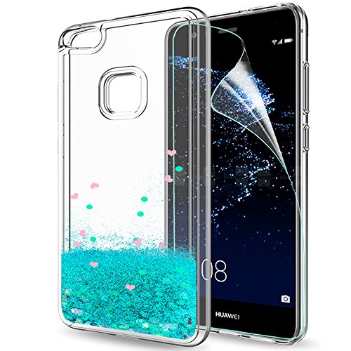 055c8ef2a75 LeYi Funda Huawei P10 Lite Silicona Purpurina Carcasa con HD Protectores de  Pantalla,Transparente Cristal