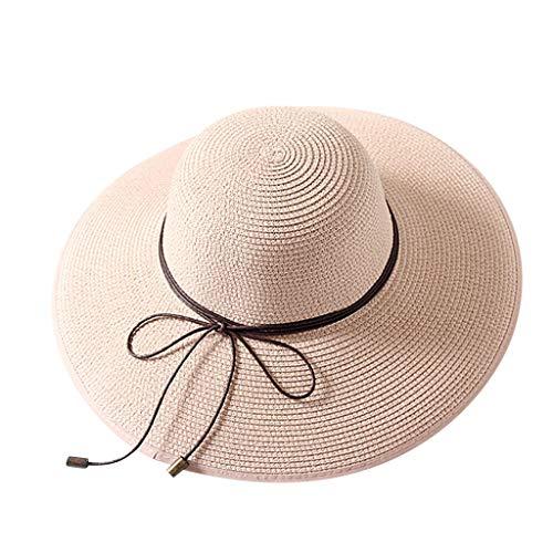 Straw Hat Dame Strohhut Girl Sun Floppy Cap Wild Colorful Wide Brim Hut Ausflug Beach Fedora Reisen Elegant Women Outdoor mütze Fashion Rope Hat Ladies Klassisch Panamahut Weiß Wandern ()