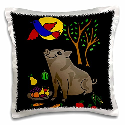 all-smiles-art-animals-funny-grey-pot-bellied-pig-with-food-and-bluebird-overhead-16x16-inch-pillow-