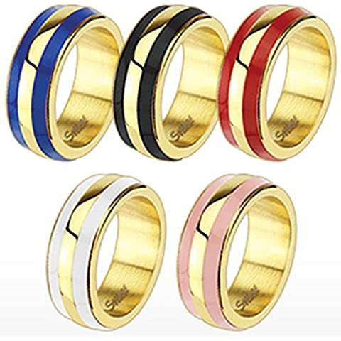 Coolbodyart Unisex smaltato anello in acciaio inox mm largo Double Stripe rosa disponibile anello misure 47 (15) - 60 (19)