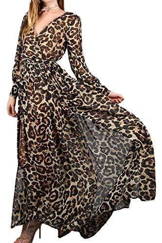 Vestido De Mujer Primavera Otoño Elegante Chiffon Vestido Maxi Manga Leopardo S