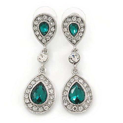 Suite/boda/diseño de vestido de fiesta gala de color verde esmeralda/Juego de pendientes de rodio con circonitas transparente en forma de lágrima en relieve con brillantes - 50 mm L