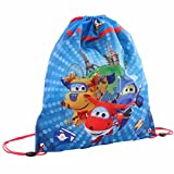 Super Wings - Sportbeutel Turnbeutel groß Schule Rescue Power 42x35 cm