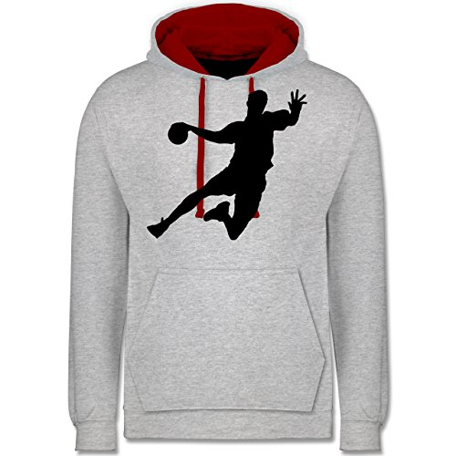 Handball - Handball - Kontrast Hoodie Grau Meliert/Rot