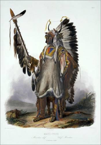 Mato-Tope, a Mandan Chief, plate 13 from Volume 2 of 'Travels in the Interior of North America', eng von Karl Bodmer / Bridgeman Images - hochwertiger Kunstdruck, neues Kunstposter (North America Kostüme)