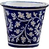 BLUE DECOR Blue Pottery Decorative-Handcrafted & Painted Floral Planter Vase( PL101 ; Blue )