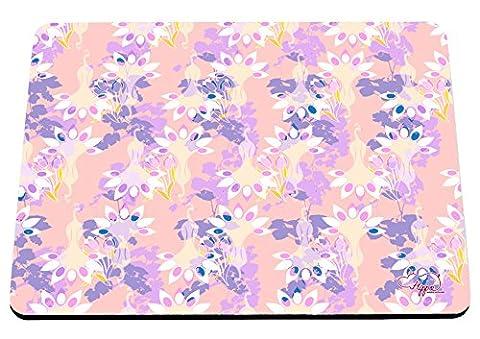 hippowarehouse Floral Pfau Muster bedruckt Mauspad Zubehör Schwarz Gummi Boden 240mm x 190mm x 60mm, rot / grün, Einheitsgröße