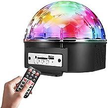 Lightess Luz Discoteca Lámpara de Escenario 9 Colores MP3 Bluetooth Músical Luz Escenario Bola de Cristal, Ultra-brillante para Disco, KTV, Bar, Boda, Las Fiestas, etc, Color Negro y Cristal