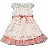 Petals4girls Lace A Line Dress For Girls - 5 To 6 Years, Peach