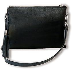 BFB Crossover iPad Damen- Schulter- & Abendtasche– mit Geldbörse für Kredit- u. Ausweiskarten, Bargeld, Handy - Plus Hülle für 10¨ Tablet – Handgemachter Luxus toller Preis - SCHWARZ