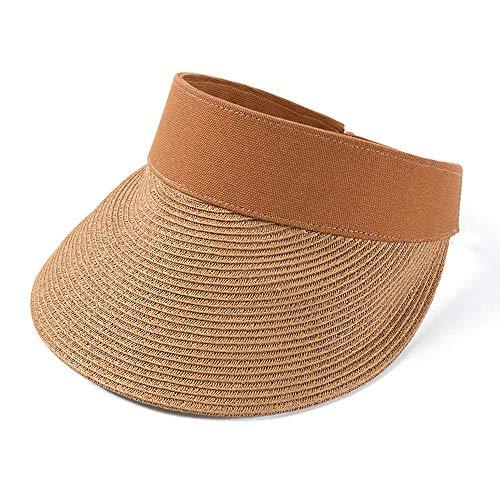 Segel-Sonnenblenden für Herren Visoren für Damen Sommer leeren Hut weiblichen Stroh Sonnenblende Freizeit Sonnenhut Volltonfarbe Topless Cap @ Camel