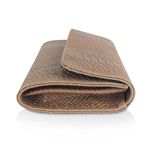 Gloop Damen Clutch echt Leder Tasche Abendtasche mit Kette Handtasche im Kroco Muster Made in Italy Khaki