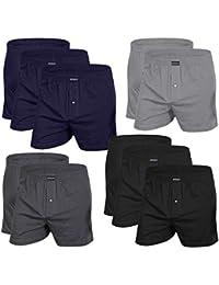 DONZO Herren Boxershorts American Style atmungsaktiv mit Vordereingriff, 10er Pack in verschiedenen Farben