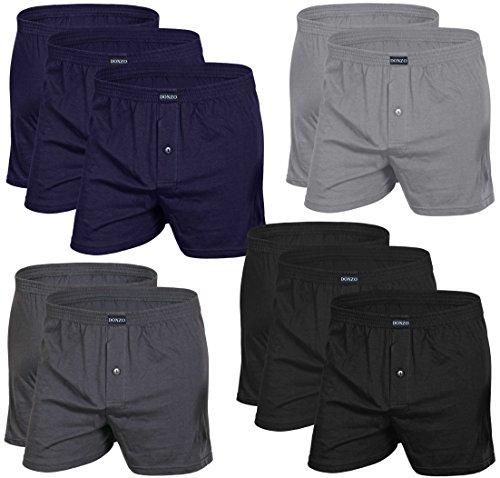 DONZO Herren Boxershorts American Style atmungsaktiv mit Vordereingriff, 10er Pack, Größe XXXL in verschiedenen Farben