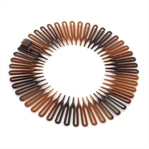 Pack 2 black brown hair flexi combs plastic zig zag comb slides flexicomb grip