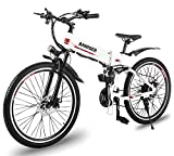 Anniser électrique Vélo de montagne pliable Ebike 66cm 500W 21vitesses Shimano Dérailleur Samsung batterie Cell Double Frein à disque Smart Vélo électrique, blanc