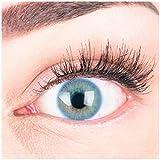 """Sehr stark deckende und natürliche blaue Kontaktlinsen SILIKON COMFORT NEUHEIT farbig """"Jasmine Blue"""" + Behälter von GLAMLENS - 1 Paar (2 Stück) - DIA 14.00 - ohne Stärke 0.00 Dioptrien"""