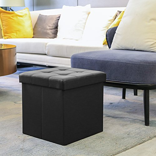 Amoiu 110cm Folding Storage Ottoman Space Saving Foot Rest Stool Seat Comfy Sponge Bench Space-saving, Extra Large Size…