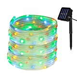 Yasolote Waterproof Rope Lights, Solar Garden Lights, 32.8ft 12m 100 LED 8 Twinkling Modes Fairy Lights, Decorative Outdoor Lighting, String Lights for Home, Gazebo, Patio, Lawn, Yard, Fence, Wedding, Party, Holiday, Festival Ornament (Multicolour)