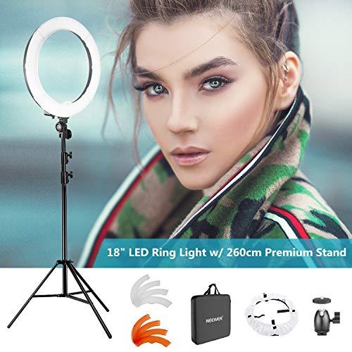 """Neewer - Anillo Luz LED Regulable 18"""" para Cámara Foto Video Retrato, con (1) Soporte de Luz de 2.6 Metros, (1) Filtro Blanco/Naranja"""