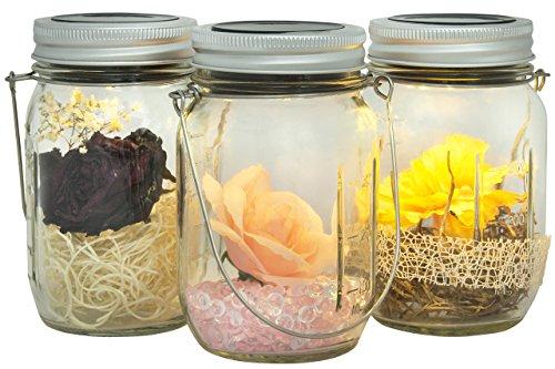 Gadgy ® Pot Bocal Solaire Set | 3 Pièces avec 5 LED's Blanc Chaud | Verre Lanterne Lampe Lumière Jardin Exterieur