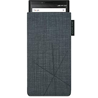 Adore June BlackBerry Key2 and Blackberry Key2 LE Phone Case, Pouch [Series Axis] Custom Made [Retract Function] Smartphone Sleeve [Display Cleaning Effect] for Blackberry Key 2 / Key 2 LE [Dark Grey]