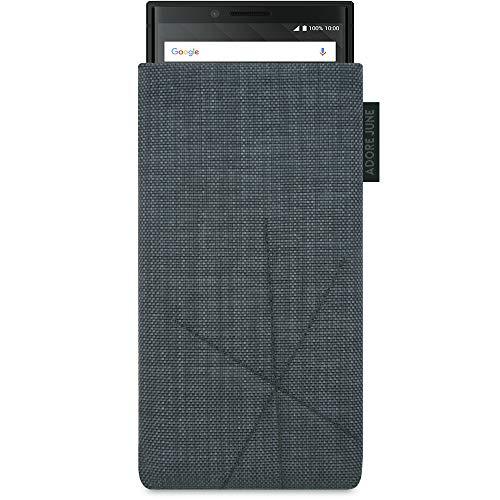 Adore June Axis Tasche für BlackBerry Key2 und BlackBerry Key2 LE, Handyhülle mit Rückzugsfunktion und Display-Reinigungseffekt, Dunkelgrau