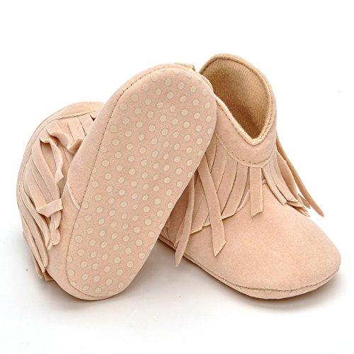 Estamico Weiche Sohle Babyschuhe mädchen Quasten Baby Stiefel Beige
