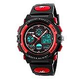 ATIMO Digital-Armbanduhr, multifunktional, wasserdicht, Sport, Digital-Armbanduhr mit Alarm, Stoppuhr, ideales Geschenk für Kinder und Jugendliche, rot