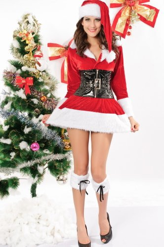 Eleganter Stretch s Women'Samt Santa-Kostüm mit Gürtel, Hut und Stiefel Red Velvet Holiday-outfit