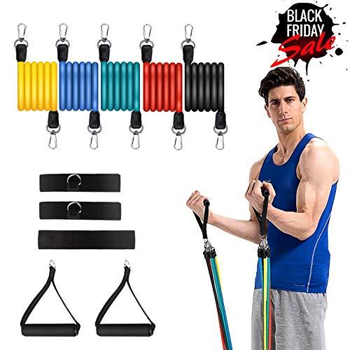 fasce di resistenza per esercizi set 11pc allenamento fitness fasce per tubo elastico con 5 cinghie per il fitness ancora per ancore, maniglie, cinturini per caviglie e borsa per il trasporto