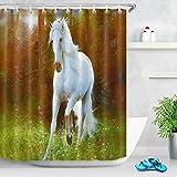 Tenda da doccia con animali Cavallo bianco nei boschi Tessuto in poliestere decorato Tende da bagno Impermeabile Anti-muffa Arredamento da bagno Accessori per la casa con 12 ganci per tende 180x200cm